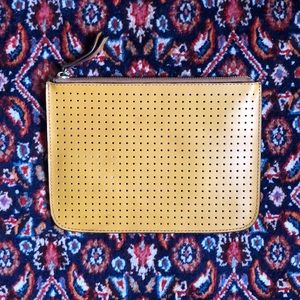 New Genuine Leather Perforated Pouch Clutch